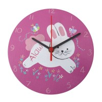 Childrens Personalised Digger Wooden Bedroom Clock Girl Boy Add Childs Name