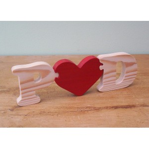 Freestanding Wooden Initials with Heart