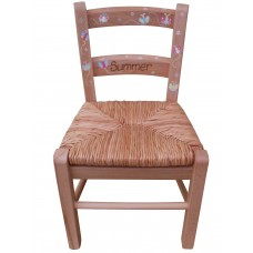 Decorated Child's Rush Seated Chair (Natural Finish)