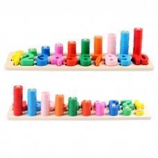 Wooden Number Puzzle and Stacking Board